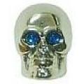 """Колпачок для ниппеля """"череп"""" CSA-V20 авто пластик серебр., пара"""